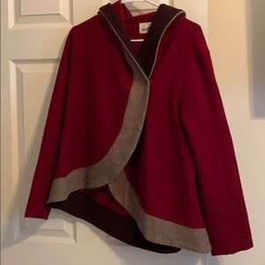 Anthropologie wool red hooded jacket